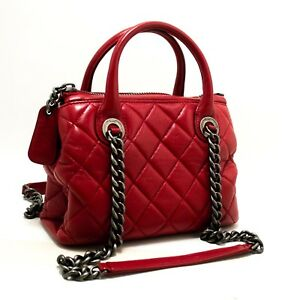 n83 CHANEL Authentic 2 Way Red Silver Chain Shoulder Bag Handbag Quilted Calf