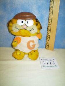 "Classic 1981 Dakin 9"" Garfield The Cat Plush Bean Bag W/ Brown Hat & T-Shirt"