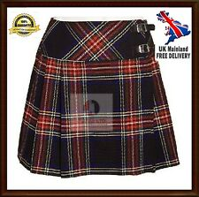 """Ladies Mini Black Stewart Skirt Mini Kilt 16"""" Length Tartan Pleated Ladies Skirt"""