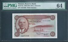 MALAWI 1 Kw P6a 1964 (1971) PMG 64 rare and beautiful note.