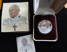 2005 1OZ FINE SILVER PROOF COOK ISLANDS $1 COIN BOX'S + COA POPE JOHN PAUL 11