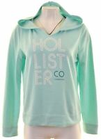 HOLLISTER Womens Hoodie Jumper Size 16 Large Turquoise Cotton  CX10