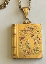 Antq Gold Filled Engraved Monogram Book Locket Pendant Chain Necklace 1/20 12KGF