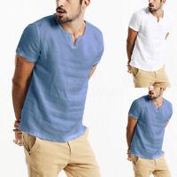 Hommes T-shirt décontracté 100% coton à manches courtes vacances Chemises hauts