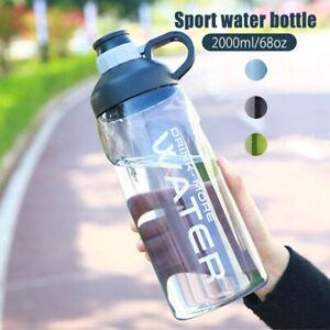 2.0L Large Big BPA Free Sport Gym Training Drink Water Bottle Cap Kettle Camping