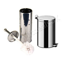 BATHROOM STAINLESS STEEL TOILET BRUSH HOLDER + 3LTR PEDAL BIN SET BLACK WHITE