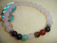 Rose Quartz Chakra Bracelet Gemstone Yoga Reiki Prayer Stones Crystal Healing