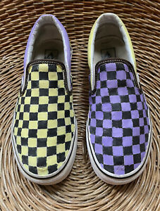 VANS Classic Womens Purple Yellow Checkerboard Slip-On Skate Shoe UK 5.5 EU 38.5