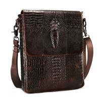 """100% Genuine Leather Men's Shoulder Bag Crocodile Crossbody Bag 8"""" Messenger Bag"""