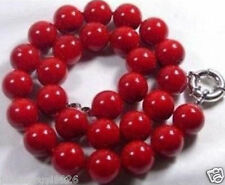 10mm Red Coral Gems Round Bead Necklace 18''