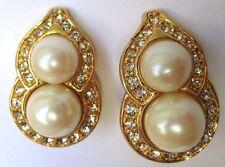 Belle boucles d'oreilles clips bijou rétro vintage couleur or cristal diamant 37