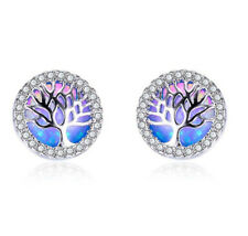 1 Pair Fashion 925 Silver Jewelry Tree Blue Fire Opal Charm Stud Earring HOT