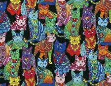 FAT QUARTER FABRIC  CAT KITTY KITTENS  PSYCHEDELIC  COLORFUL CATS 100% COTTON FQ