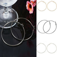 1Pair Classic New Women's Chic Punk Large Round Thin Earrings Hoop Dangle Drop