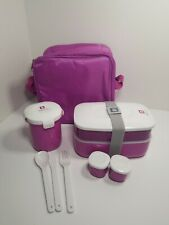 Bentgo All-in-One Stackable Lunch Bento Box Lunchbox Purple w/Carry Thermal Case
