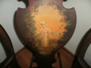Antique Victorian Bent Wood -Hand Painted Back Panel Rocking Chair - Must See