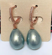 New Sky Blue  Water Drop Long Shell Pearl on Rose Gold Plated Hook Earrings