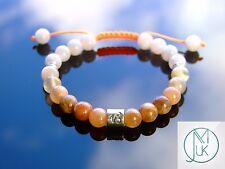 Capricorn Moonstone Sunstone Birthstone Bracelet 7-8'' Macrame Healing Stone
