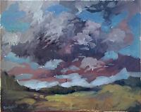 "Cloud Horizon Landscape Abstract Original Oil Painting 16""x20"" Signed Canvas"