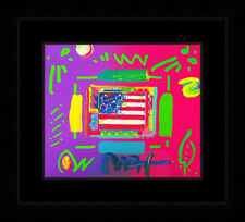"""PETER MAX """"FLAG"""" (OVERPAINT) 