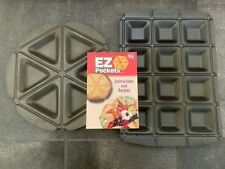 "EZ Pockets Set of 2 Gray Non-Stick Steel Baking Pan 12.5"" Diameter Round+Square"