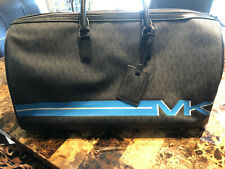 NWT MICHAEL KORS MK Signature XL TRAVEL Duffel Bag In BLACK CANVAS/Leather $598