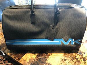 NWT MICHAEL KORS MK Signature XL TRAVEL Duffel Bag In BLACK CANVAS/Leather