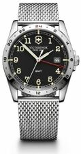 New Victorinox Swiss Army Infantry GMT Black Dial Mess Band Men's Watch 241649