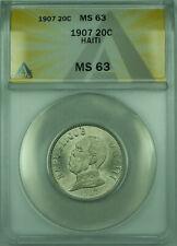 1907 20C Haiti ANACS MS 63 20 Centimes KM#55