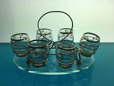 vintage atomic shot glasses caddy with clear glass base barware cocktail