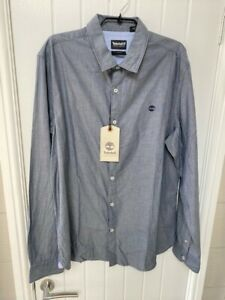 TIMBERLAND MENS LONG SLEEVE CASUALSHIRT. SLIM FIT. SIZE XL. BLUE. NEW WITH TAGS.