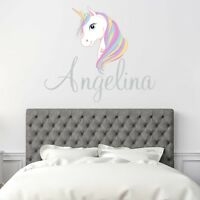 CUSTOM NAME VINYL DECAL WITH WHITE UNICORN WALL STICKER