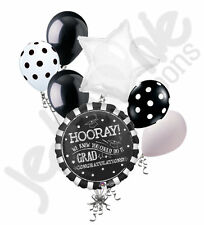 7 pc Black & White Chalkboard Grad Balloon Bouquet Party Decoration Graduation