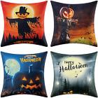 4pcs Halloween Pillow Covers 18x18In Set of 4 Linen Halloween Decor Throw Pillow