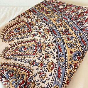 Hand Block Print Floral Paisley Mandala Tablecloth Tapestry Wall Hanging 54x80