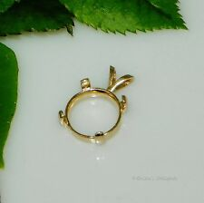 12mm Round Cabochon (Cab) 14kt Gold Plated Sterling Silver Pendant Setting