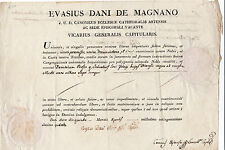DOC. EVASIUS DANI DE MAGNANO 1814 DOCUMENTO PAPALE IN LATINO CON BOLLO 4-183