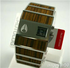 NIXON The Rotolog Mens Watch Silver Wood Grain RARE Brand NEW