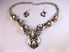 Sterling Silver Necklace & Earrings w/ Purple Stones Stamped LT