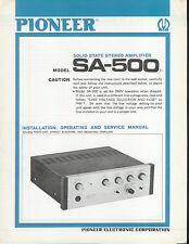 Rare Original Factory Pioneer SA-500 Amplifier Amp Owner's/Service Manual