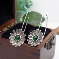 Boho Vintage Sunflower Dangle Drop Flower Earrings Hook Ear Studs Silver Plated