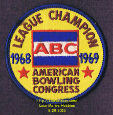 LMH PATCH Badge  1968 1969 ABC LEAGUE CHAMPION  American Bowling Congress Champs