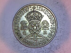 1942 SILVER FLORIN COIN OF KING GEORGE VI. TWO SHILLINGS. 2/-..(C117)