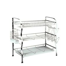 3 Tier Steel Dish Drainer Plates Glass Cutlery Cups Rack Holder Drip Tray Fast D