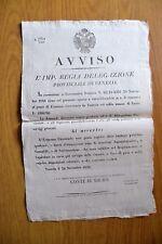 ANTICO MANIFESTO VENEZIA AVVISO CONCORSO ECONOMO CARCERARIO  1846