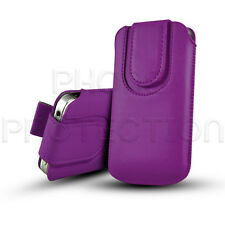 Button Close Leather Pull Tab Case Cover Pouch Holster For Various LG Phones