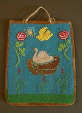 Early 1900 ~ 1910 Native American Plateau Beaded Bag White Swan & Bird