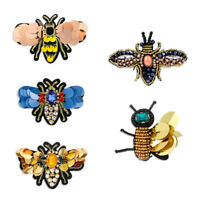 Sewing & Fabric Beaded Sew on Patch Bee Badge Sequin Patches Crystal Applique