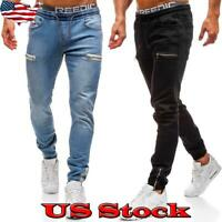 New Mens Fashion Zipper Drawstring Denim Basic Casual Skinny Slim Straight Jeans