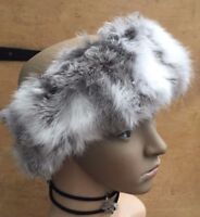 natural grey white real genuine rabbit fur pelt ear warmer headband unisex hat